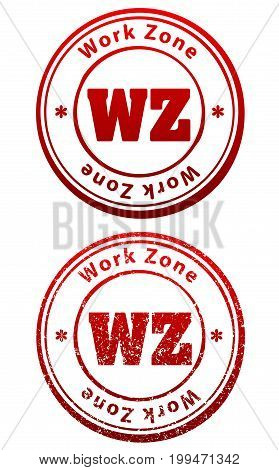 Pair Of Red Rubber Stamps In Grunge And Solid Style With Caption Work Zone And Abbreviation Wz