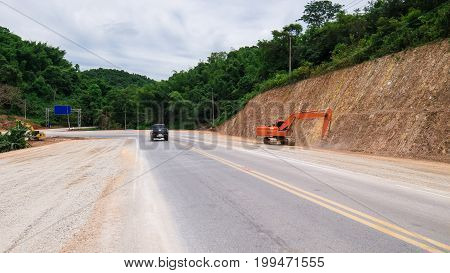 Construct Expand  Road In  Forest And Mountain.