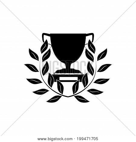Cup and reward on white backgroundModern symbol of victory award achievement sport. Insignia ceremony awarding of winner tournament. Color template for badge tag. Design element. Vector illustration