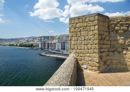 views of Naples and the promenade of Naples from the height Castel dell'Ovo in good weather, Naples, southern Italy