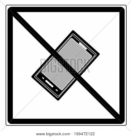 No call sign in black square. Isolated on white background. No telephone symbol on white mark. No telephone ban sign picture. Red sticker vector illustration. Flat vector image. Vector illustration.