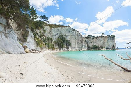 Panoramic photo of a beautiful beach at Stingray Bay at Cathedral Cove Marine Reserve, Coromandel Peninsula, New Zealand.