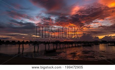 Chalong pier during sunrise or sunsetbeautiful colorful dramatic sky in Phuket thailand
