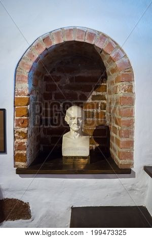 Kaunas Lithuania - May 12 2017: Sculpture of Samuel Hahnemann in Museum of the History of Medicine and Pharmacy. Kaunas Lithuania.