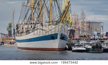 SZCZECIN, WEST POMERANIAN / POLAND - 2017: Final Tall Ships Races. Great sailing ship and yachts berthed at the wharfs