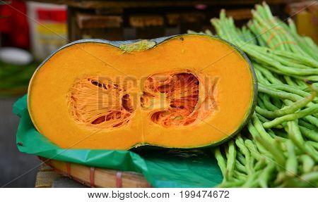 Yellow Pumpkin At Rural Market In Philippines
