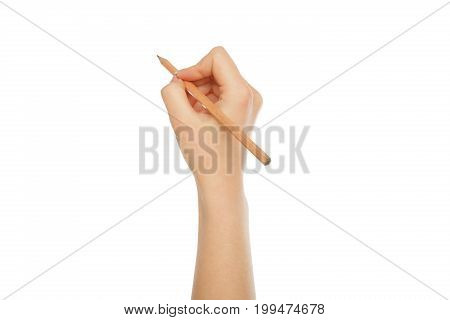 Female hand holding pencil isolated on white background, close-up, cutout, copy space