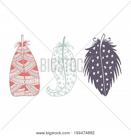 Cute Hand Drawn Set Of Different Feathers. Bird Feather Collection In Doodle Style. Vector Illustrat