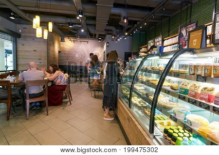 SAINT PETERSBURG, RUSSIA - CIRCA AUGUST, 2017: display case at Starbucks coffee shop. Starbucks Corporation is an American coffee company and coffeehouse chain.