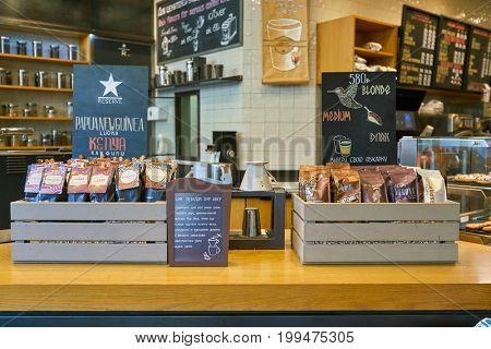 SAINT PETERSBURG, RUSSIA - CIRCA AUGUST, 2017: coffee on display at Starbucks coffee shop. Starbucks Corporation is an American coffee company and coffeehouse chain.