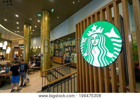 SAINT PETERSBURG, RUSSIA - CIRCA AUGUST, 2017: Starbucks sign at coffee shop in Saint Petersburg. Starbucks Corporation is an American coffee company and coffeehouse chain.