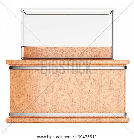 Empty glass showcase on wooden pedestal isolated on white background. 3d rendering