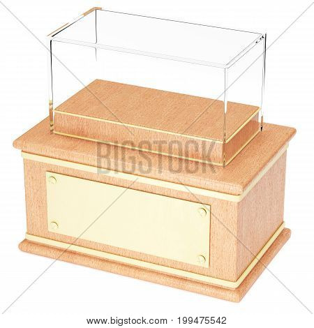 Empty glass showcase on wooden pedestal with the golden plate in front isolated on white background. 3d rendering