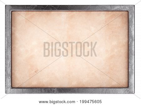 Blank old paper with metal frame isolated on white background. 3d rendering