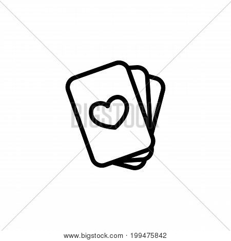 Thin Line Playing Cards On White Background