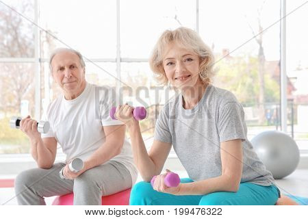 Elderly patients in rehabilitation center. Physiotherapy concept