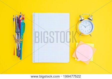 back to school concept minimalistic and creative scene on yellow background