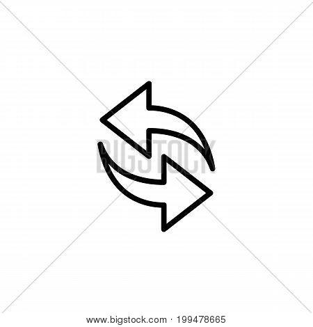 Thin Line Synchronize, Refresh Icon On White Background