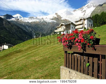 Chalets on a hillside with a flower display and a view of snow capped mountains at Saas Fee, Switzerland