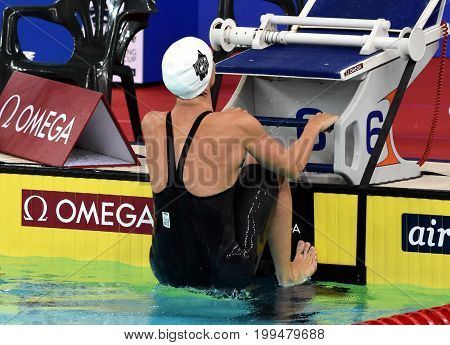 Hong Kong China - Oct 30 2016. Katinka HOSSZU (HUN) at the start of the Women's Backstroke 100m Final. FINA Swimming World Cup Victoria Park Swimming Pool.