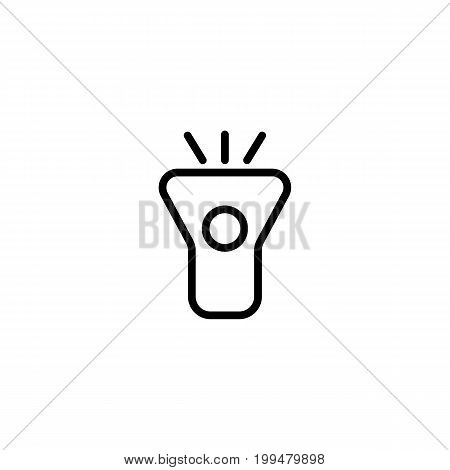 Thin Line Flashlight Icon On White Background