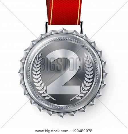 Silver Medal Vector. Silver 2nd Place. Ceremony Winner Honor Prize. Isolated On White. Olive Branch. Realistic Illustration.