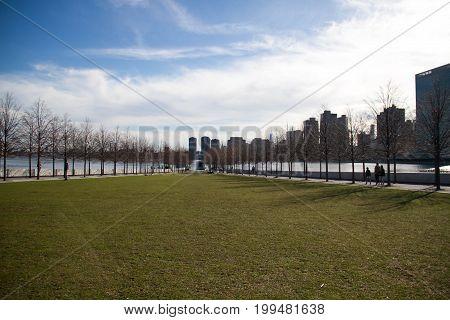 Green grass field at Roosevelt island, New York