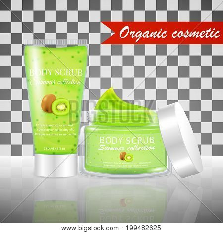 Realistic packaging body scrub bottles, organic scrub kiwi cosmetics tube.Skin scrub organic cosmetics jar and cap.Fashion magazine cosmetics advertising, luxury cosmetic collection scrub gel