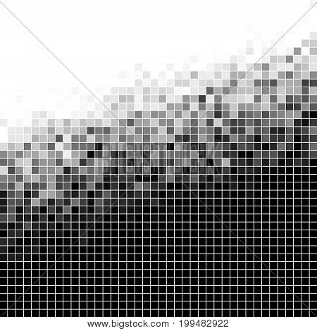 abstract vector square pixel mosaic background - black and white