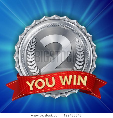 Silver Medal Vector. Round Championship Label. Ceremony Winner Honor Prize. Red Ribbon. Realistic Illustration.