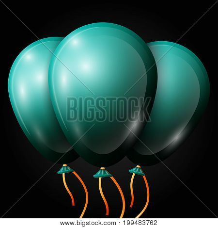 Realistic jade balloons with ribbon isolated on black background. Vector illustration of shiny colorful glossy balloons