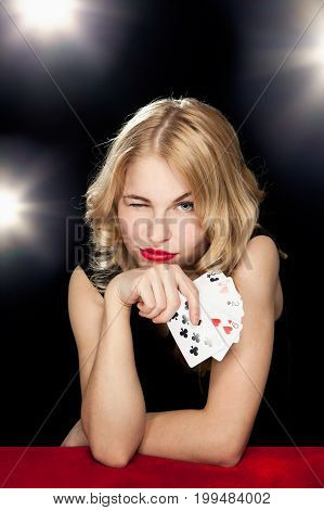 Young Girl Playing In The Gambling