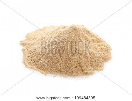 Heap of rye flour on white background