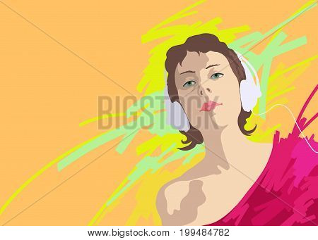 Illustration of a young girl in headphones on a bright background