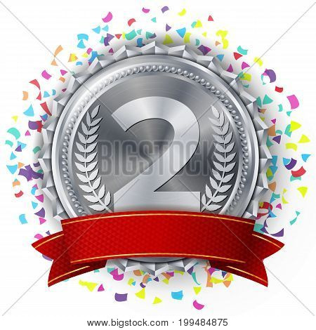 Silver Medal Vector. Falling Confetti Explosion. Red Ribbon. Isolated On White Background. Realistic Illustration.