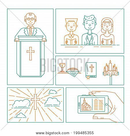 Vector set of different christianity illustration. Priest, bible, cross in clouds, congregation, hand holding smartphone, wine and bread, candles isolated on white. Religion icons.