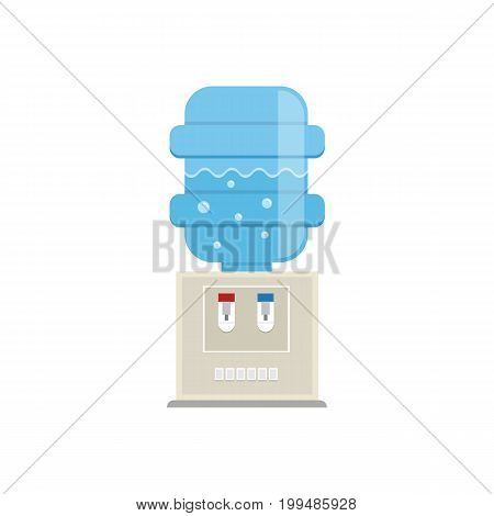 Vector water cooler icon in trendy flat style. Gray water cooler with blue full bottles isolated on white background. Water cooler logo.
