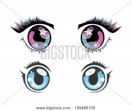 Two pairs of eyes in anime style.