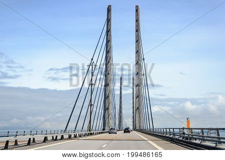 MALMO SWEDEN - JULY 24 2017:Traffic on the great Oresund bridge between Malmo in Sweden and Denmark.