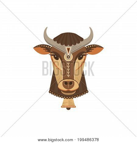Vector portrait of a cow made in trendy flat style. India animal symbol. Perfect for t-shirt design or bag with cute animal character.