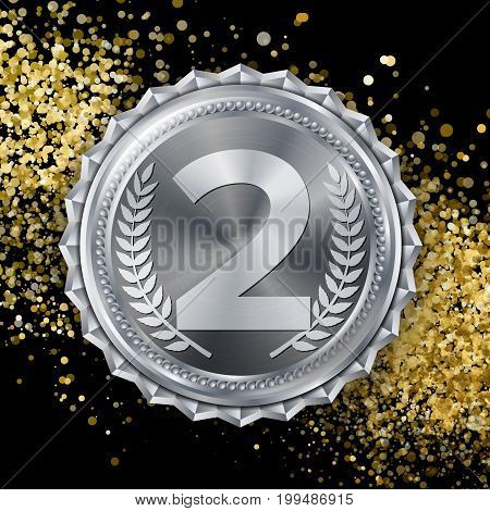 Silver Medal Vector. 2nd Place Achievement. Winner, Champion, Number One. Olive Branch. Realistic Illustration.