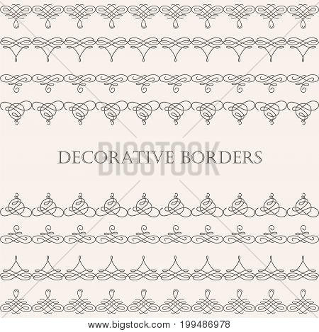 Set collection of borders with sample text in calligraphic retro style isolated on beige background. Can be used for decorate cards invitations menu. Vector illustration