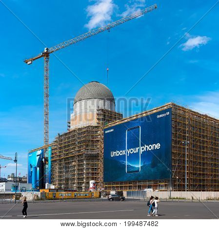 BERLIN, GERMANY - AUGUST 08, 2017: Construction site of the City Palace in Berlin. The goal is the restoration of the historic cityscape of Berlin
