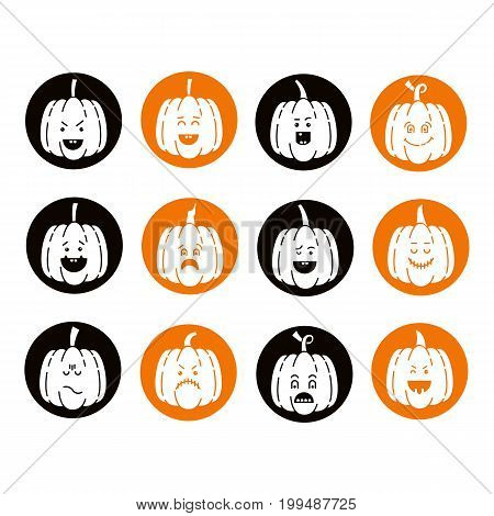 Vector Halloween pumpkin  icons set. Emotion Variation. Flat style design elements. Set of scary and cute facial expressions. Spooky horror pumpkins  illustration.
