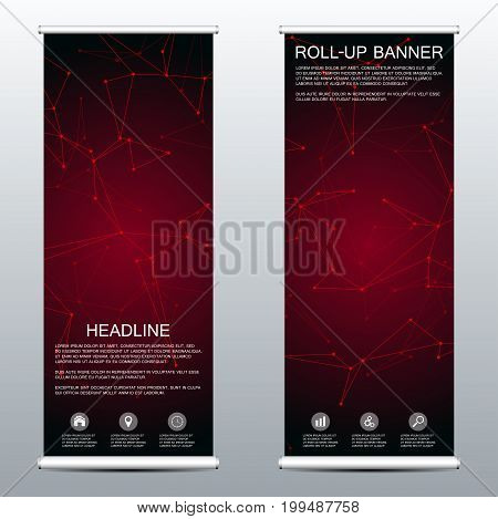 Roll up banner for presentation and publication. Medicine, science, technology and business templates. Structure of molecular particles and atom. Polygonal abstract background