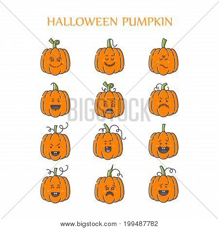 Vector Halloween pumpkin linear icons set. Emotion Variation. Line flat style design elements. Set of scary and cute facial expressions. Spooky horror pumpkins  illustration.