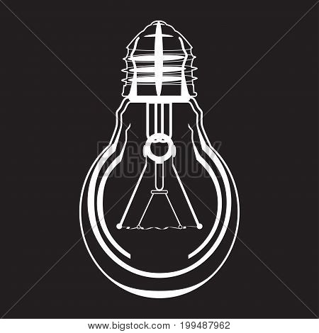 White light bulb vector icon isolated on black background. Flat style design.