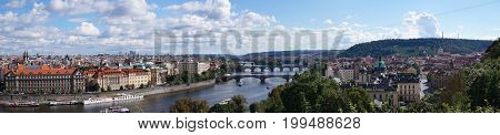 Prague, especially the city in the Czech Republic, with the prospect of bridge bridges suitable as a background or abstract