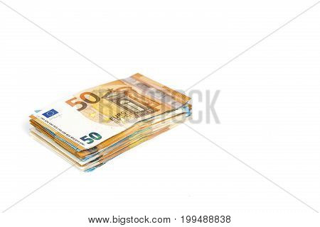 European union currency euro banknotes bills background.  50 euro. Concept success rich economy. On white background Europe