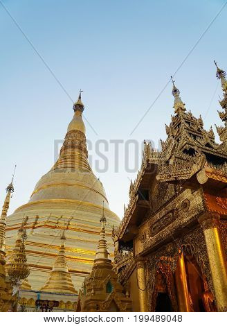 The Shwedagon Pagoda in Yangon , Myanmar